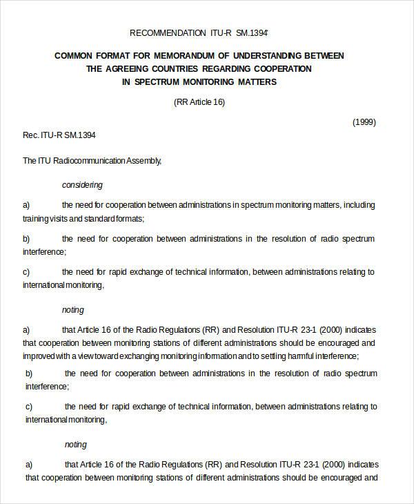 Memorandum Of Understanding Format
