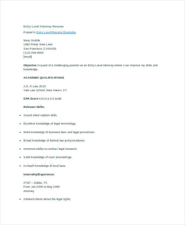 attorney resume 9 free word pdf documents