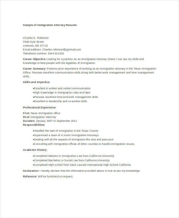 Immigration Attorney Resume Template