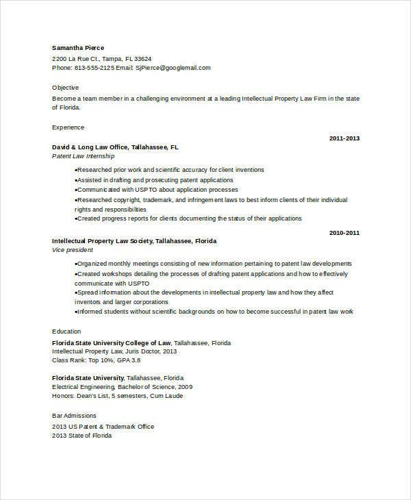 patent attorney resume template