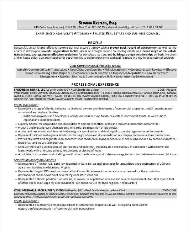 real estate attorney resume - Commercial Law Attorney Resume