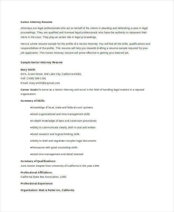 senior attorney resume template legal canada law school word advocate templates