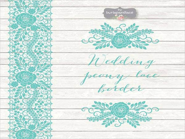 Vector Wedding Peony Lace Border
