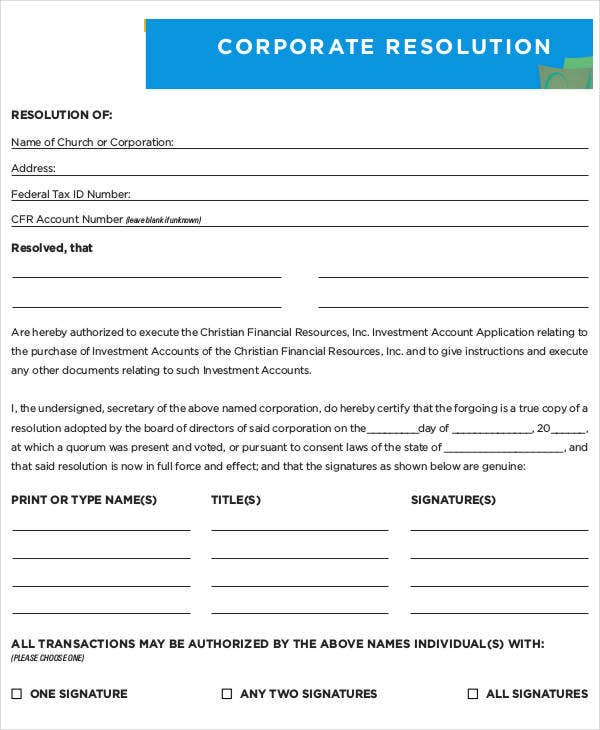 Blank Corporate Resolution Form