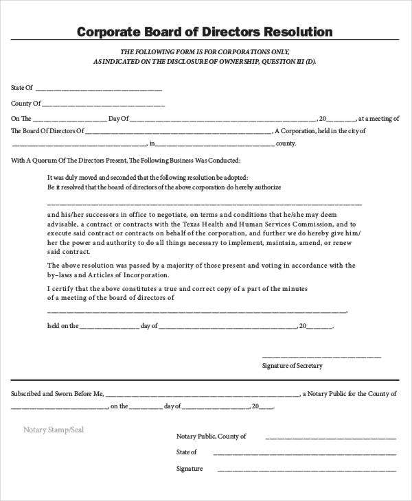 Corporate Board of Directors Resolution Form