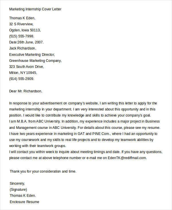 Cover Letters For Internship   Free Word Pdf Documents