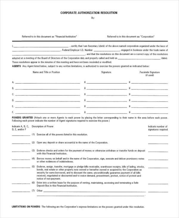 Corporate resolution authorized signers template gallery for Corporate resolution authorized signers template