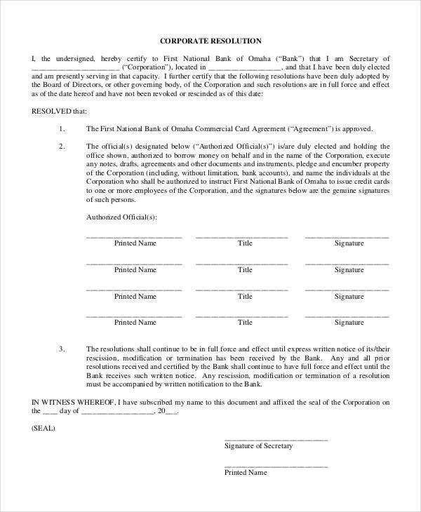Corporate Resolution Form   Free Word  Documents Download