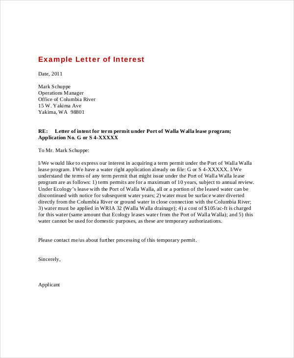 Letter of interest 12 free sample example format free letter of interest example expocarfo