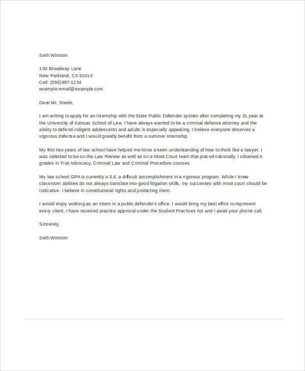 Letter of Interest for Internship Sample