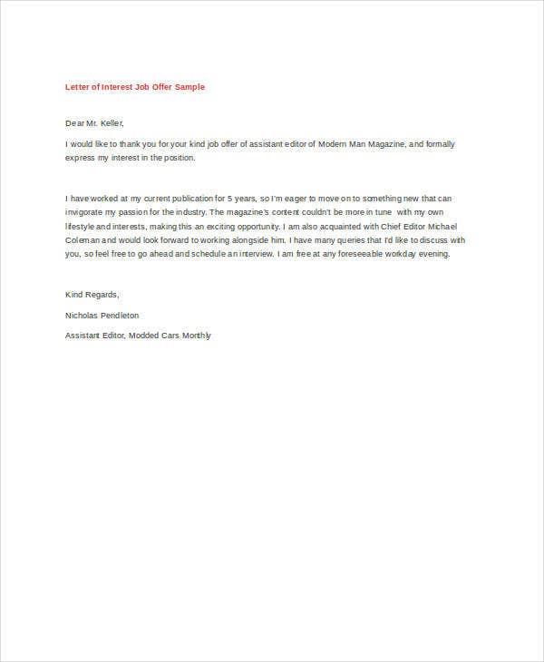 letter of interest for job letter of interest 12 free sample example format 6225