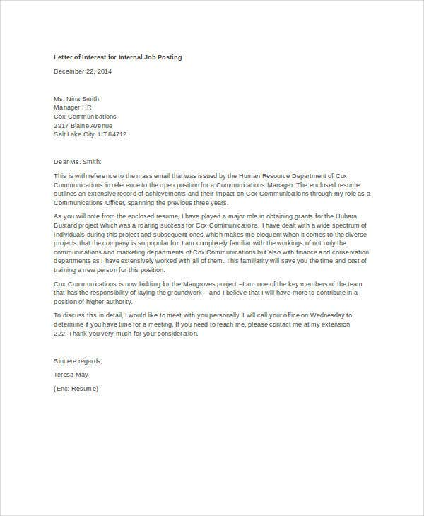 Awesome Letter Of Interest Sample For Internal Job Posting