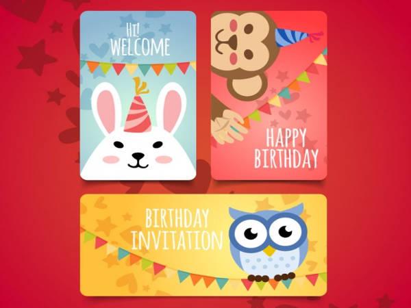 flat birthday invitation with cute animals