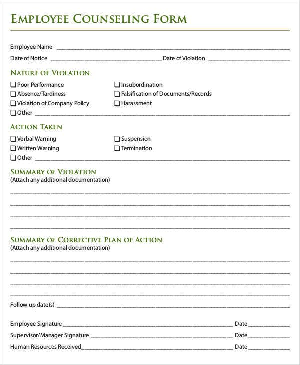 Employee Write Up Form 6 Free Word PDF Documents Download – Employee Counseling Form
