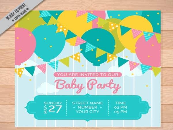 Free Baby Party Invitation with Colorful Garlands and Balloons