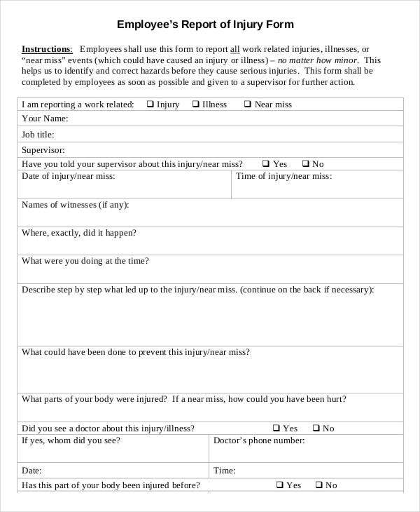 Employee's Report of Injury Write Up Form