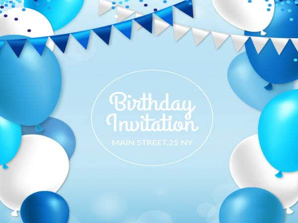 Birthday invitation with Blue Balloons