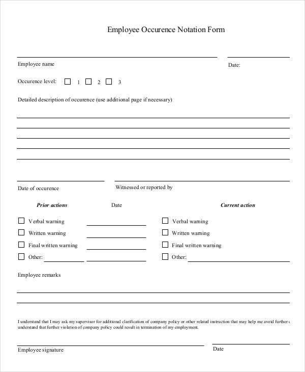 Employee Occurrence Notation Form
