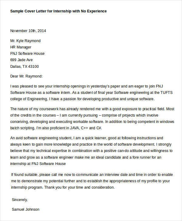 Cover Letters For Internship 7 Free Word Pdf Documents Download