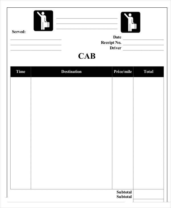 How to write taxi receipt form invoice sample cab template for Ola document template