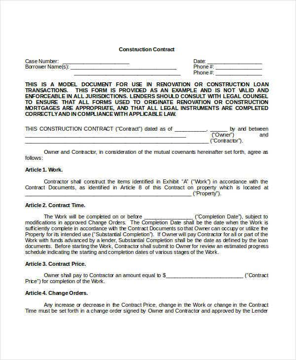 Construction contract template 12 free word pdf for Builder contract for new home