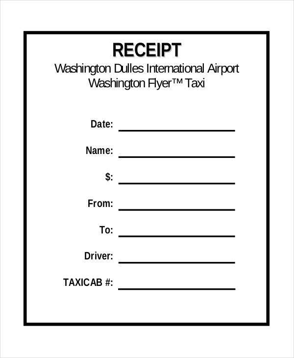 5 Sample Taxi Receipt Templates Free Sample Example Format – Taxi Bill Format in Word