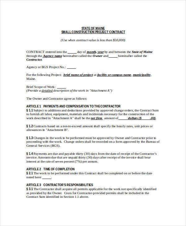 Small Construction Project Contract  Project Contract Template