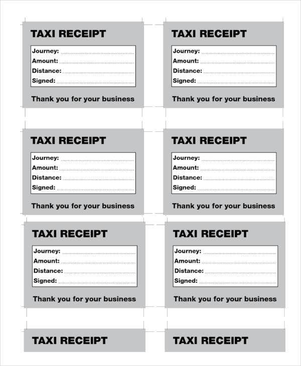 5 Sample Taxi Receipt Templates Free Sample Example