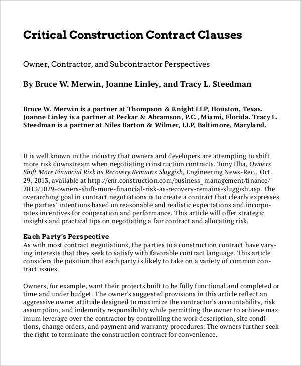 Critical Construction Contract