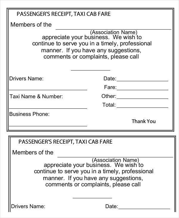 Taxi Receipt Template Example