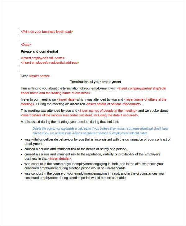immediate termination of employment letter