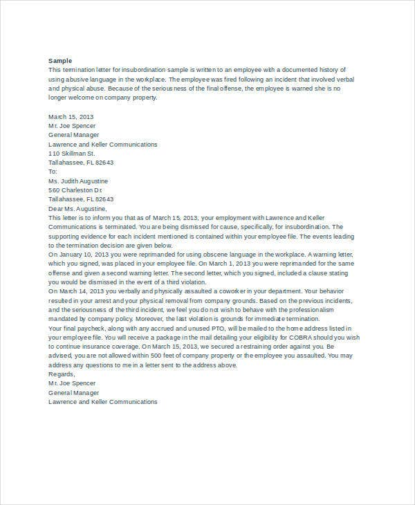 Letter of Termination Template - 8+ Free Word, PDF Document