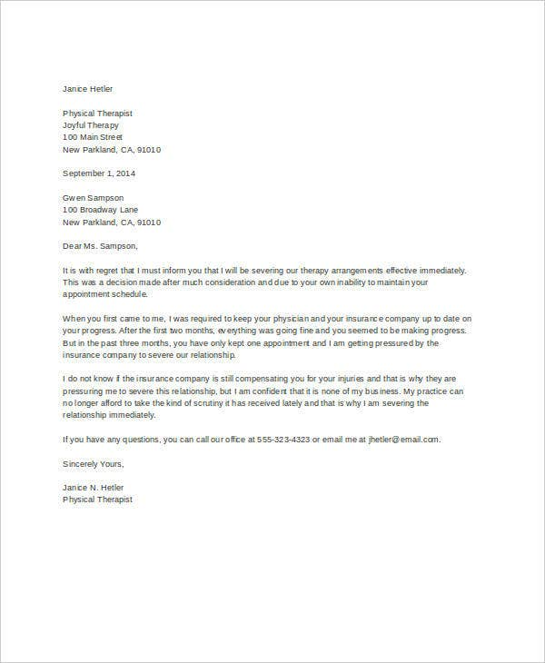 Letter Of Termination Template   Free Sample Example Format