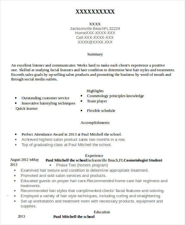 Attractive Cosmetology Student Resume To Cosmetologist Resume