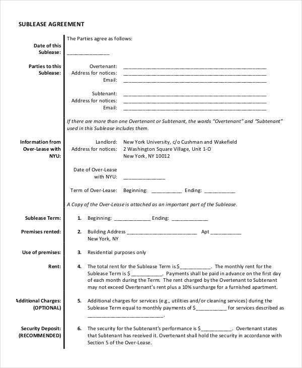 Sublease Agreement Template   Free Word Pdf Documents