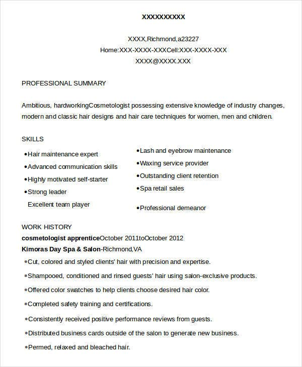 Cosmetology Resume   Free Word Pdf Documents Download  Free