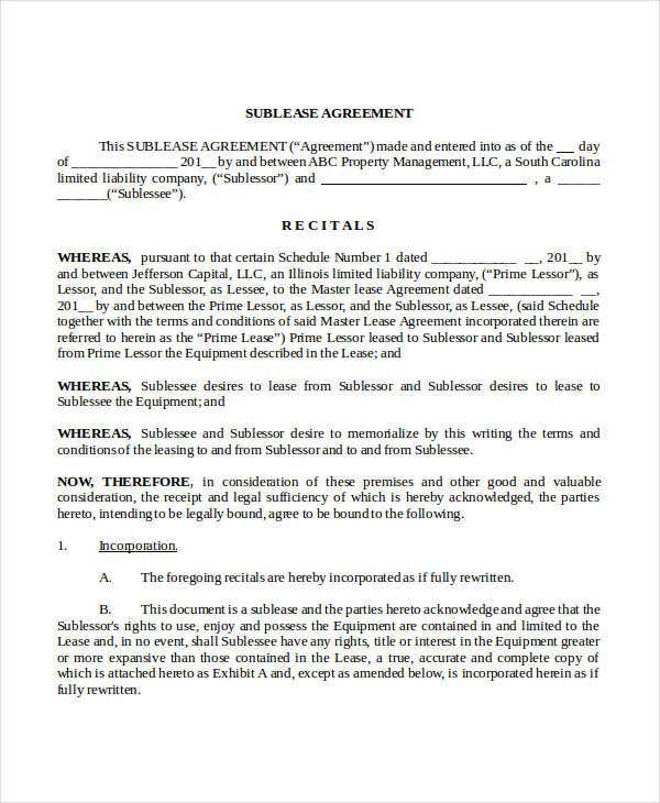 Equipment Sublease Agreement Template