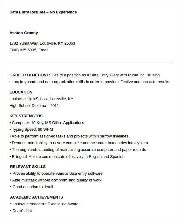 No Experience Data Entry Resume Template  Data Entry Experience