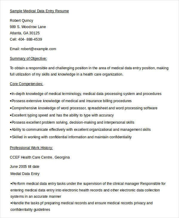 sample medical data entry resume