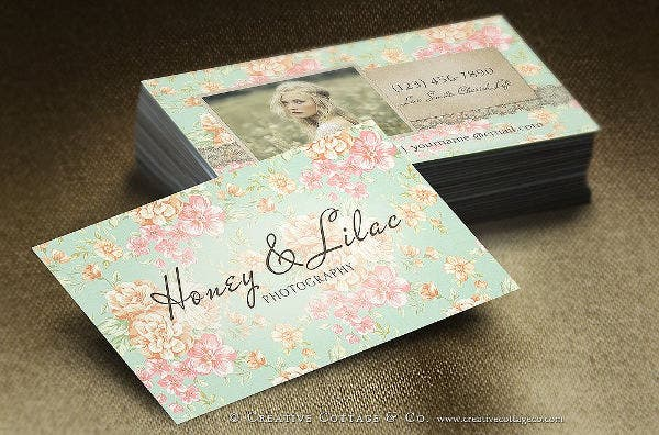 vintage psd floral business card