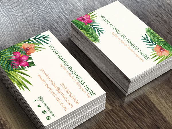 free tropical floral business card