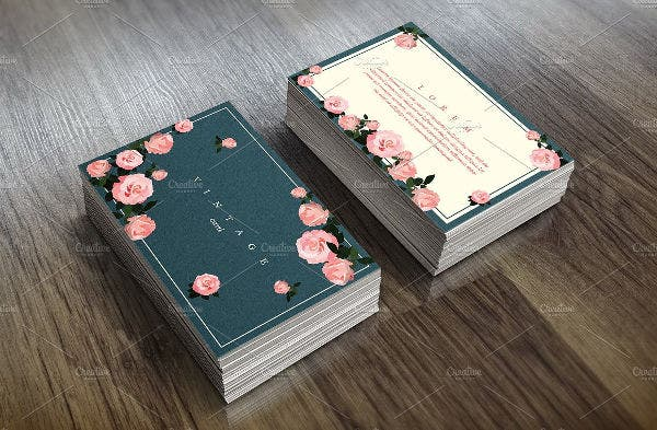 floral card template in vintage style