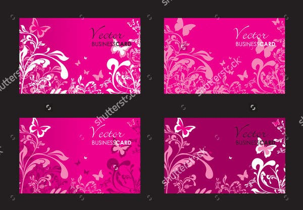 floral business card silhouette