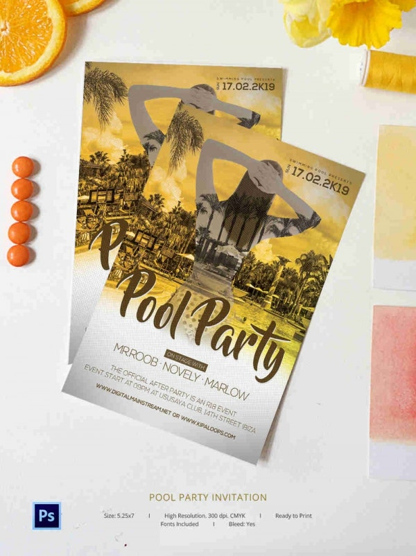 Free Pool Party Invitation Templates - Printable, Swimming | Free ...