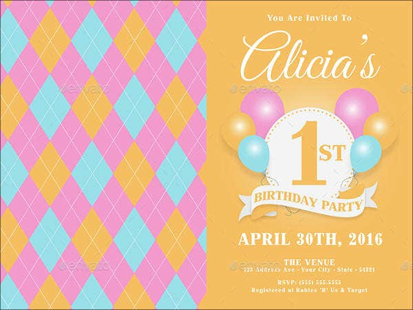 1st Birthday Invitation Template