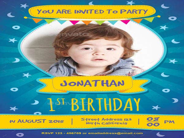 Kids 1st Birthday Invitation
