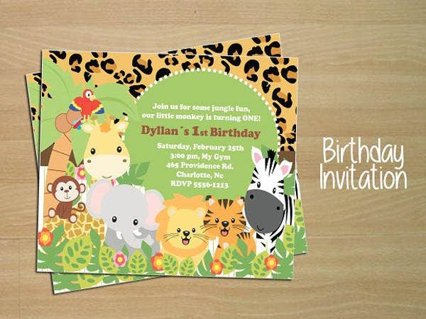 Birthday Party Invitation Template with Jungle