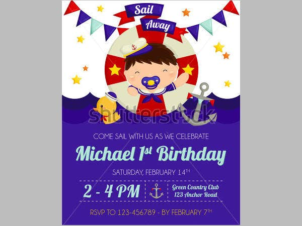 Nautical Baby Boy Birthday Invitation
