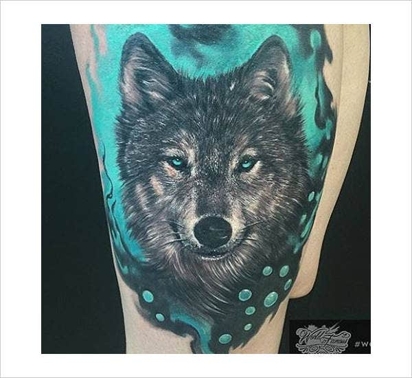Colored Wolf Tattoo Design