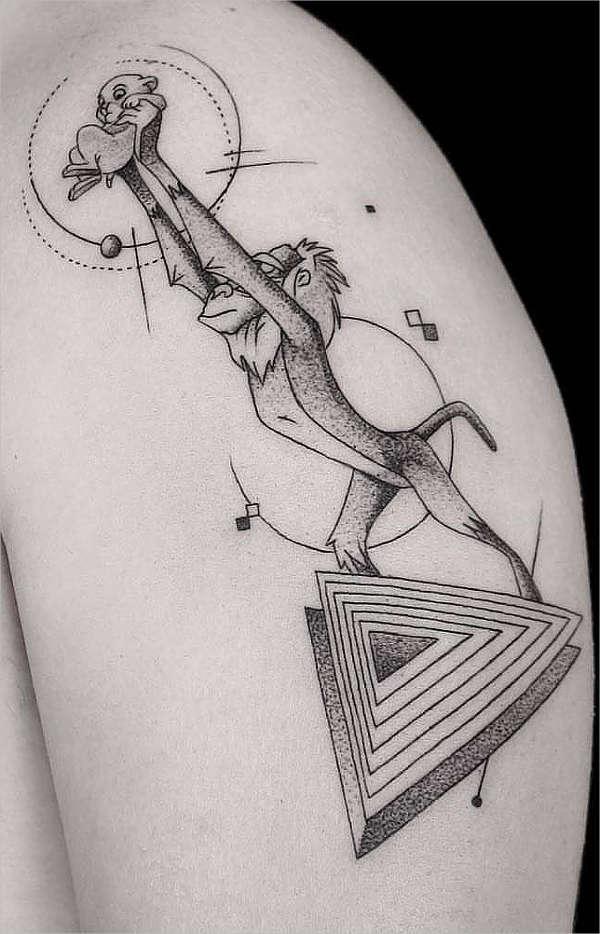 Geometrical Monkey Tattoo